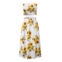 Sun Flower Printed Crop Bandeau with Maxi Elastic Waist Skirt Co-ords