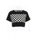 Color Block Monochrome Printed Round Neck Short Sleeve Crop Tee