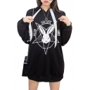 Pentagram Rabbit Letter Printed Lace Up Detail Long Sleeve Tunic Hoodie