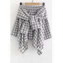 Plaid Tie Front Elastic Waist Asymmetric Skirt