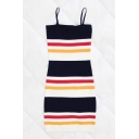 Color Block Striped Printed Spaghetti Straps Sleeveless Mini Bodycon Dress