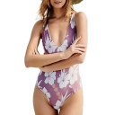 Holiday V Neck Floral Printed Sleeveless Open Back Hollow Out One Piece Swimwear