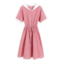 Color Block Hood Plaid Printed Short Sleeve Buttons Down Midi A-Line Dress