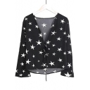 Pentagram Printed V Neck Long Sleeve Blouse