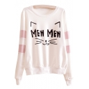 Contrast Striped Cat Letter Printed Round Neck Long Sleeve Sweatshirt