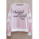 CHEERFUL Letter Contrast Striped Round Neck Long Sleeve Sweatshirt
