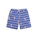 Men's Blue Popular Allover Seahorse Pattern Swim Shorts with Hook and Loop Pockets