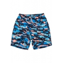 Quick Dry Blue Camouflage Swim Trunks Shorts with Hook and Loop Pockets