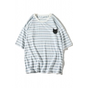 Leisure Cat Printed Round Neck Short Sleeve Striped Tee