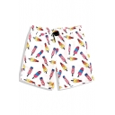 White Chic Popsicle Ice Cream Swimming Trunks for Men with Mesh Liner