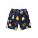 Fashion Big and Tall Navy Blue Elastic Drawstring Stone Print Swim Shorts Men with Cargo Flap Pocket