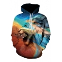 Colorful Lion Printed Long Sleeve Hoodie