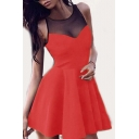 Sheer Mesh Insert Round Neck Sleeveless Mini A-Line Dress