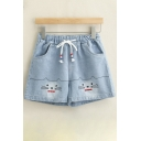 Cute Cat Printed Elasticated Drawstring Waist  Denim Shorts