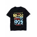 Hip Hop Style Letter Printed Round Neck Short Sleeve Tee