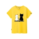 LOVE YOU LOVE ME Letter Cat Printed Round Neck Short Sleeve Tee