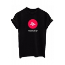 MUSICALLY Letter Pattern Printed Round Neck Short Sleeve Tee