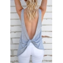Sexy Crisscross Backless Plain Sleeveless Tee