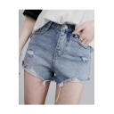 Ripped Detail Zipper Fly Hot Pants Denim Shorts