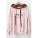 Color Block Hood Letter Cake Embroidered Lace Drawstring Long Sleeve Hoodie