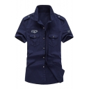 Badge Embellished Lapel Collar Short Sleeve Buttons Down Tooling Shirt