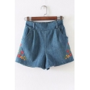Floral Embroidered Elastic Waist Wide Leg Shorts with Double Pockets