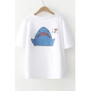 OH BOY Letter Shark Printed Round Neck Short Sleeve Tee