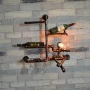 Industrial Practical Wall Sconce with Pipe Fixture Arm in Rust Finish