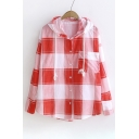 Plaid Printed Long Sleeve Sun Proof Hooded Buttons Down Coat
