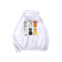 Lovely Cat Printed Back Long Sleeve Hooded Sun Proof Coat