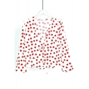 Retro Polka Dot Printed Long Sleeve V Neck Blouse