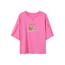 Cat Embroidered Round Neck Cut Out Short Sleeve Tee