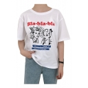 BLA Letter Character Printed Round Neck Short Sleeve Tee