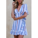 V Neck Short Sleeve Striped Printed Pom Pom Embellished Mini A-Line Dress