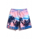 Awesome Elastic Mens Pink Palm Beachside Swim Trunks with Pockets and Brief Lining