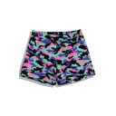 Cool Camo Mens Black and Pink Swim Trunks with Drawcord and Mesh Liner