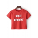 YELL HEAH Letter Printed Round Neck Short Sleeve Crop Tee