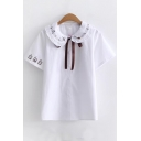 Peter Pan Collar Staff Embroidered Short Sleeve Single Breasted Shirt