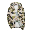 Camouflage Printed Zip Up Long Sleeve Sun Proof Hooded Coat