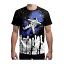 Color Block HOPE Astronaut Printed Round Neck Short Sleeve Tee