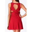 Hollow Out Back Plain Sleeveless Round Neck Mini A-Line Dress