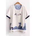 Cat Letter Printed Bow Embellished Round Neck Short Sleeve Tee