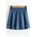 Peach Embroidered Elastic Waist Mini A-Line Skirt