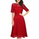 Boat Neck Half Sleeve Midi A-Line Lace Dress