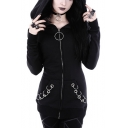 Ring Embellished Long Sleeve Plain Zip Up Hoodie