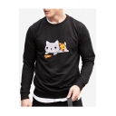 Cat Pizza Printed Round Neck Long Sleeve Sweatshirt