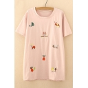 Animal Embroidered Round Neck Short Sleeve Tee