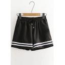 Contrast Striped Printed Drawstring Waist Loose Shorts