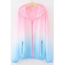 Ombre Zip Up Sun Proof Long Sleeve Hooded Coat