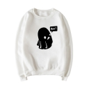 BOO Letter Ghost Print Round Neck Long Sleeve Sweatshirt